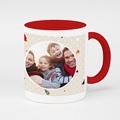 Mug Personnalisé Photo Noël en famille, intérieur et anse rouge
