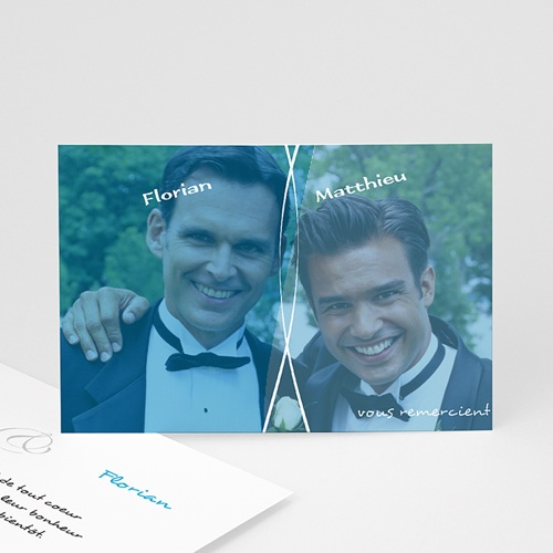 Carte Remerciements Pacs - Deux gars, un Merci 8586