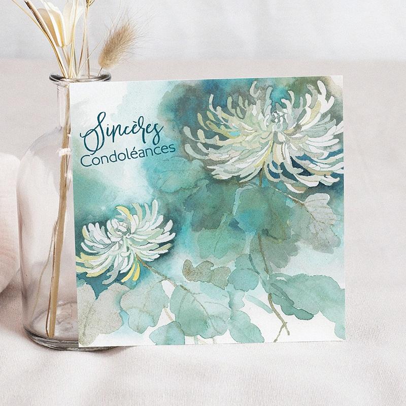 Carte Condoléances Fleurs d'Espérance, 14,5 x 15 cm