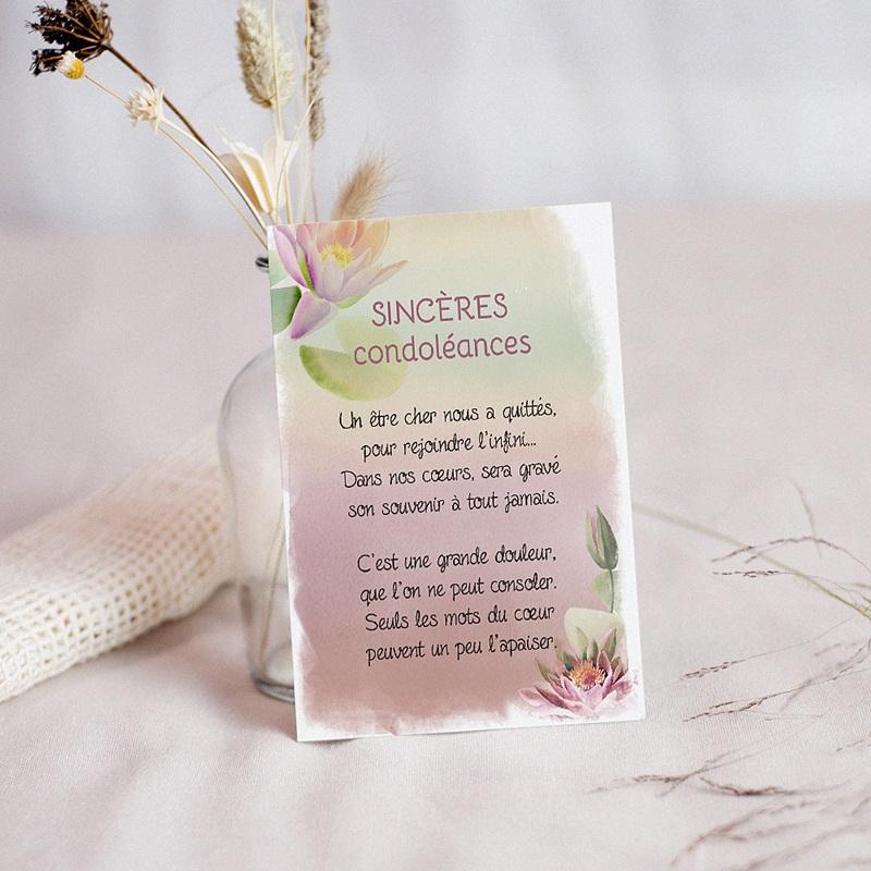 Carte Condoléances Nénuphar du Souvenir, poème