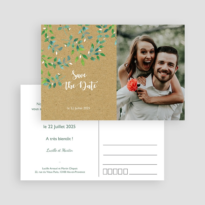 Save The Date Mariage Liberty Nature & Kraft gratuit