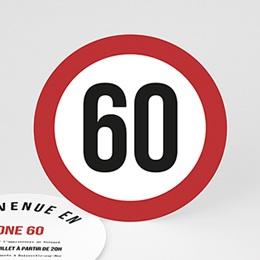 Carte Invitation Anniversaire - Zone 60, Soixantaine et plus - 0