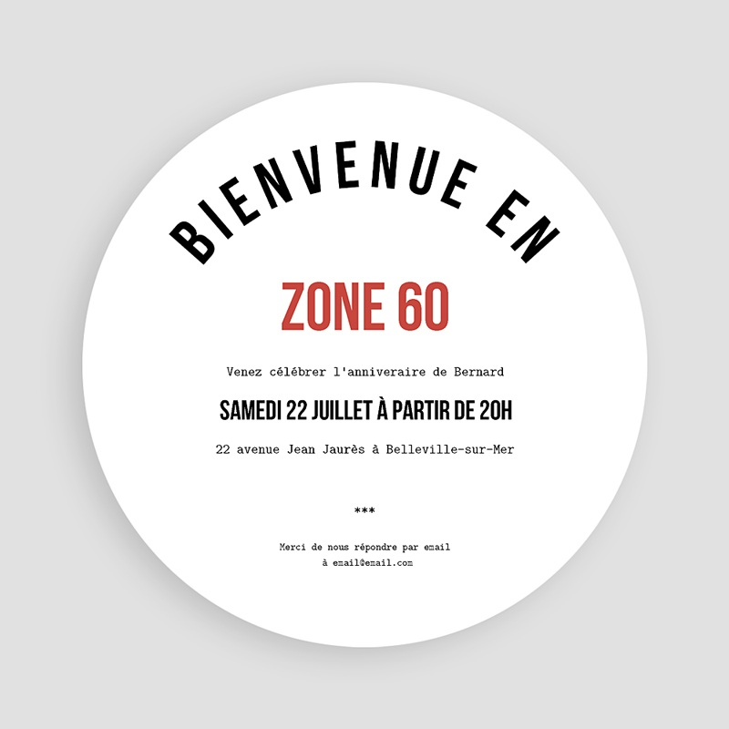 Carte Invitation Anniversaire Zone 60, Soixantaine et plus pas cher