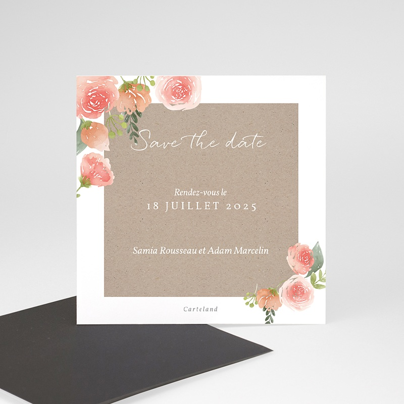 Save The Date Mariage Pivoines Chic, Magnet, 9 cm x 9 cm