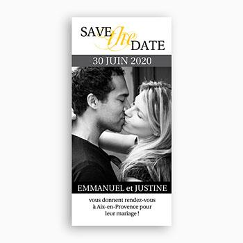 Save the date mariage duo estival - gris et jaune pas cher