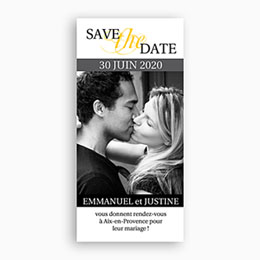 Save the date mariage Duo Estival - gris et jaune