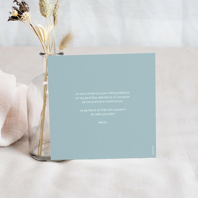 Carte Remerciement Communion Colombe, Fond Bleu, photo, 10 x 10 cm pas cher
