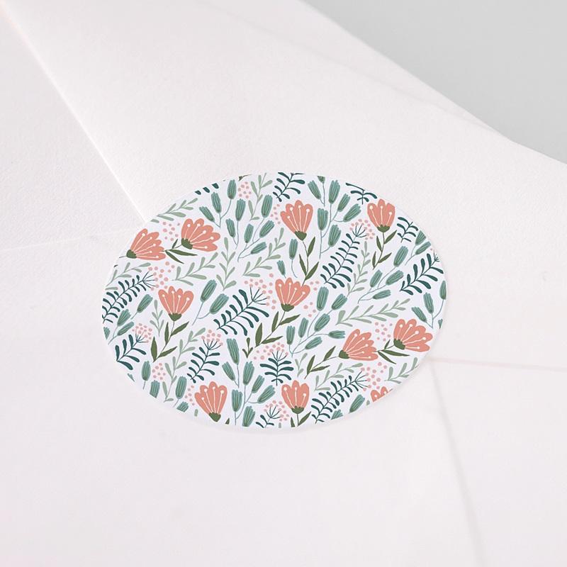 Etiquette Autocollante Communion Motif Floral Rose, 4,5 cm pas cher