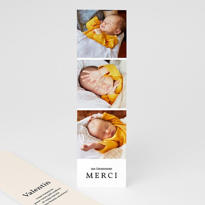 Carte Remerciement Naissance Quatre Photos, , 5,5 x 21 cm
