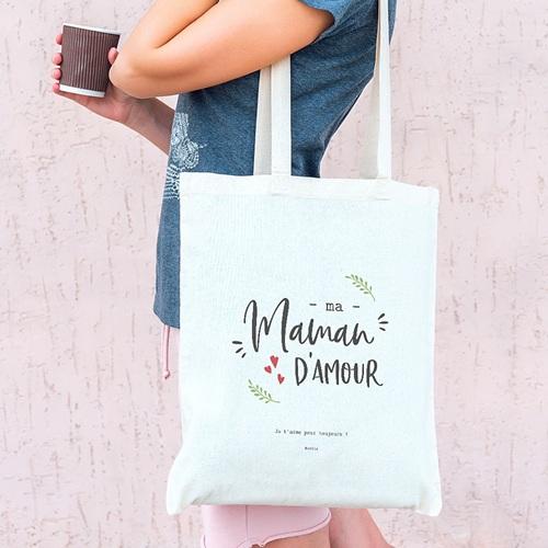 Tote Bag Personnalisé Maman D'amour, Sac Fourre Tout pas cher