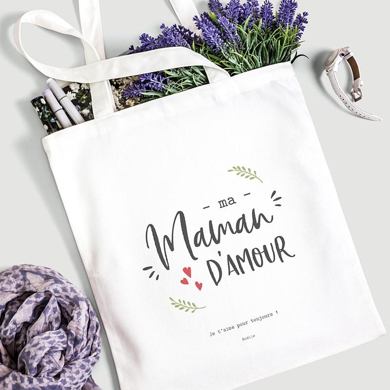 Tote Bag Personnalisé Maman D'amour, Sac Fourre Tout gratuit