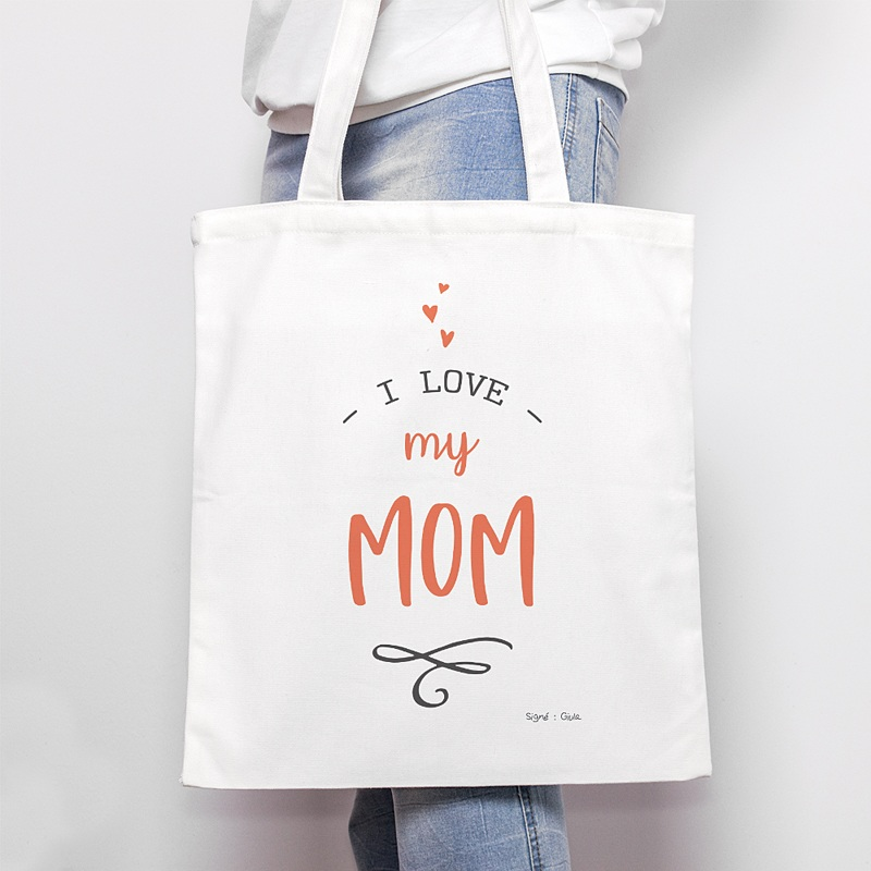 Tote Bag Personnalisé Love my Mom, sac Fourre Tout