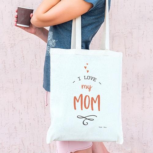 Tote Bag Personnalisé Love my Mom, sac Fourre Tout pas cher
