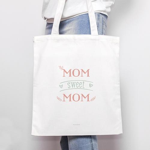 Tote Bag Personnalisé Mom Sweet Mom, Cabas Fourre Tout