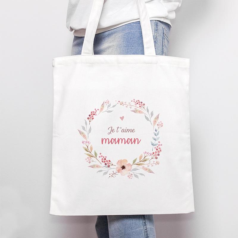 Tote Bag Personnalisé JTM Maman, Fleurs, Sac en toile