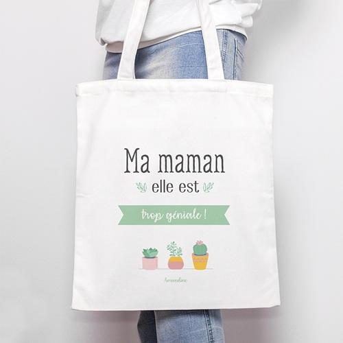 Tote Bag Personnalisé Maman géniale, Cabas Fourre Tout