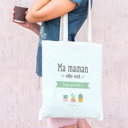 Tote Bag Personnalisé Maman géniale, Cabas Fourre Tout pas cher