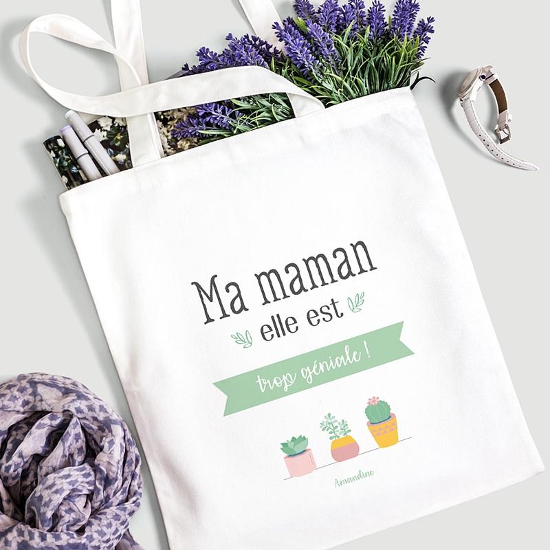 Tote Bag Personnalisé Maman géniale, Cabas Fourre Tout gratuit