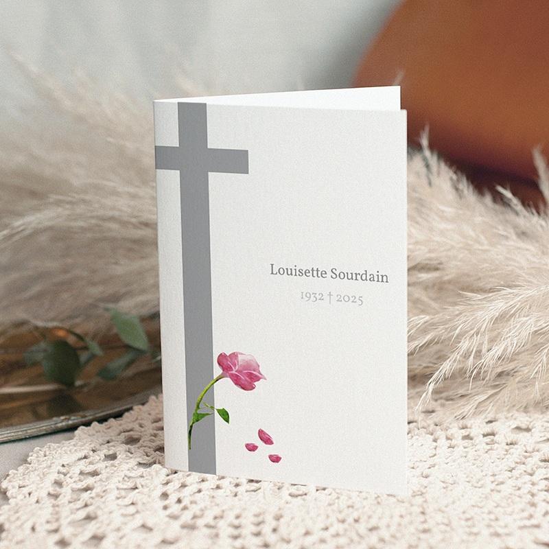 Carte remerciement décès chrétien Ave Maria Rose