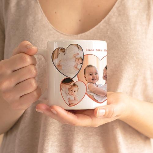 Mug Personnalisé Fête des Mères Love my Mom, 3 Photos gratuit