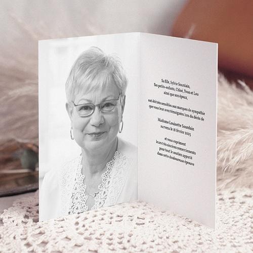 Carte remerciement décès chrétien Ave Maria - 2 pas cher