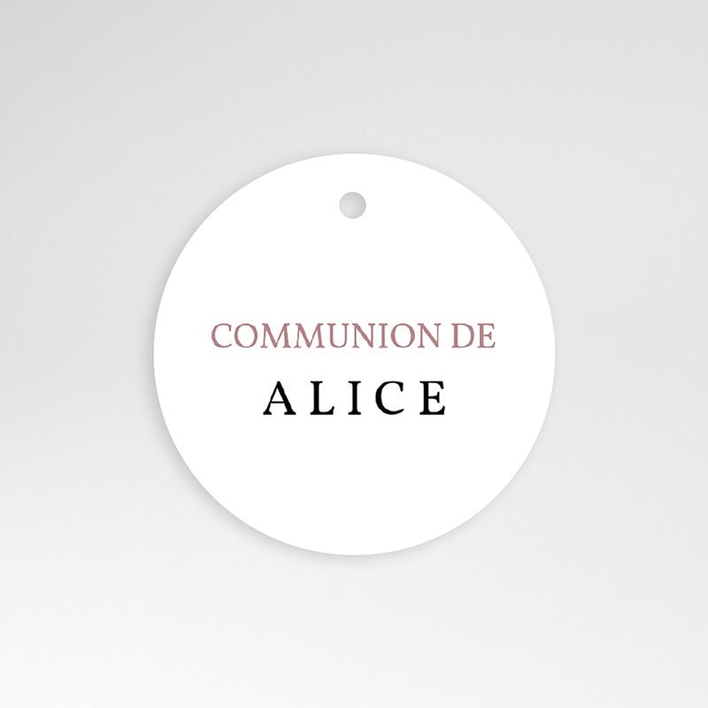 Étiquette Communion Oiseaux, Rose poudré, 4,5 cm