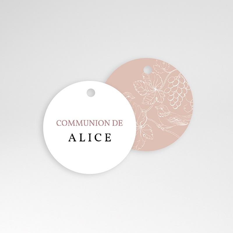 Étiquette Communion Oiseaux, Rose poudré, 4,5 cm pas cher