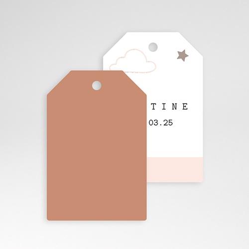 Etiquette Cadeau Naissance Nuage, étoile, bande rose, 6x4 pas cher