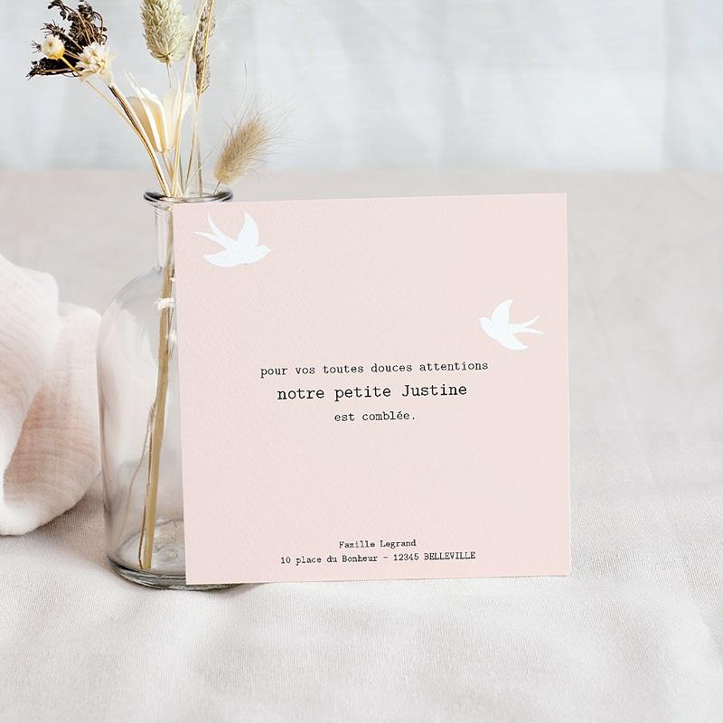 Carte Remerciement Naissance Fille Petit Doudou, Rose, Colombes pas cher