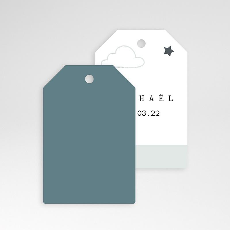 Etiquette Cadeau Naissance Nuage, étoile, bande bleue, 6x4 pas cher