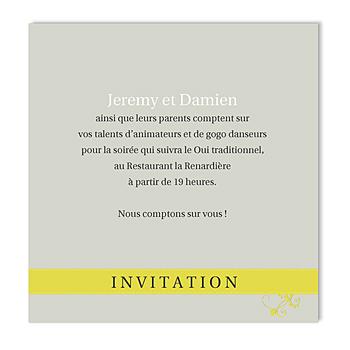Carton invitation personnalisé gris et anisé sur mesure