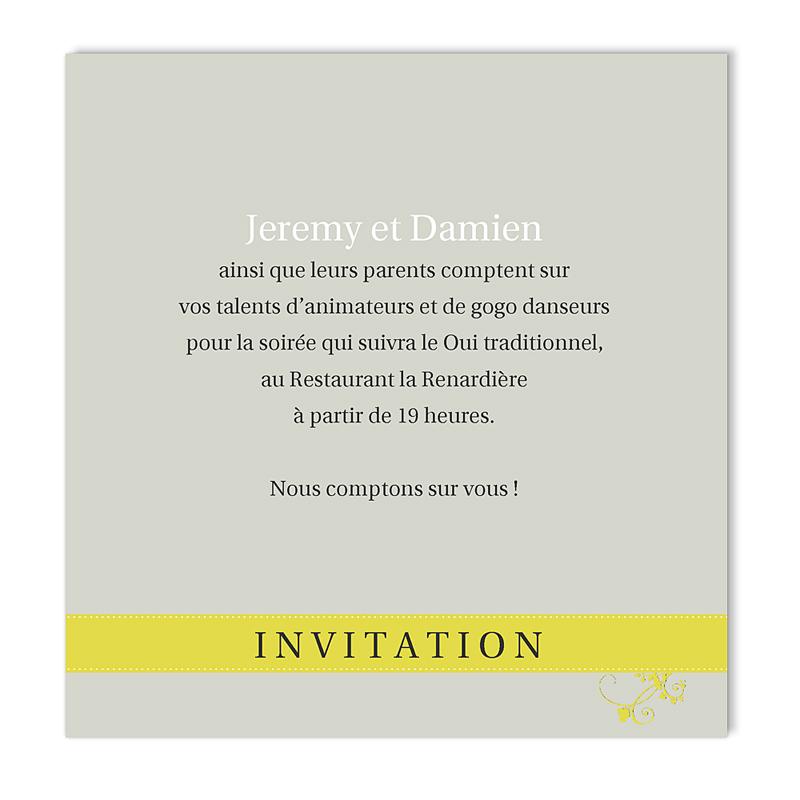 Carton Invitation Personnalisé Gris et Anisé