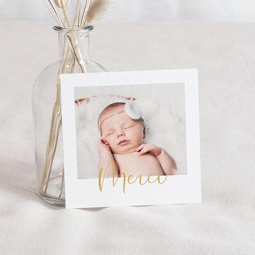 Carte Remerciement Naissance Fille Baby Girl, Merci, Or