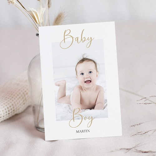 Faire-Part Naissance Garçon Carte postale, Baby Boy, Or