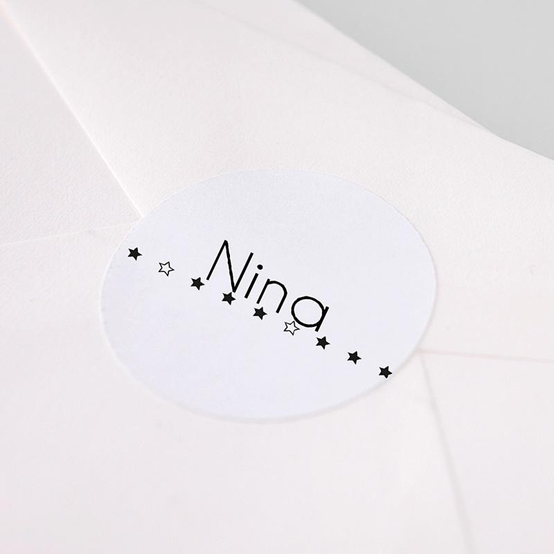 Etiquette Autocollante Naissance Etoiles Scintillantes noires, 4,5 cm pas cher