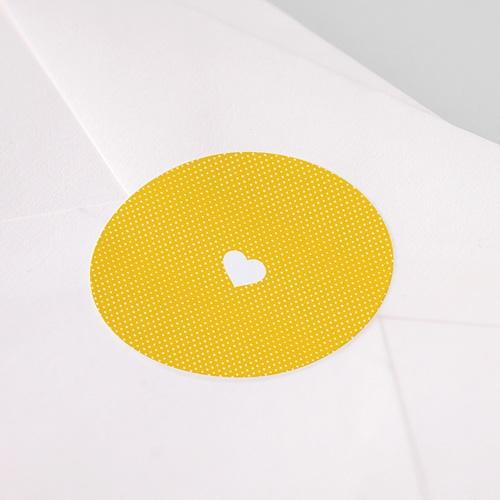 Etiquette Autocollante Naissance Moderne, Coeur blanc, Jaune pas cher