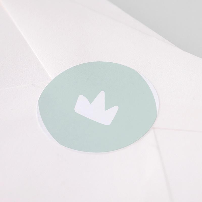 Etiquette Autocollante Naissance Petit Roi, 4,5 cm pas cher