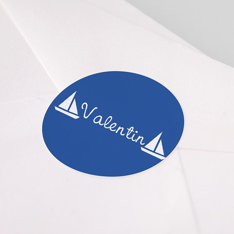 Etiquette Autocollante Naissance Petits bateaux, bleu pas cher