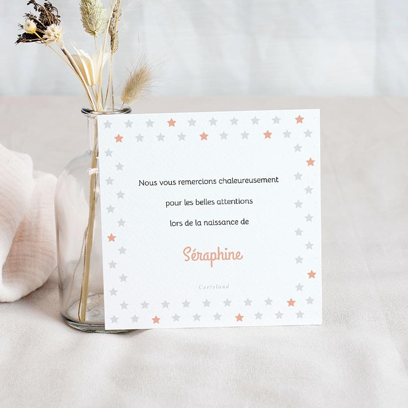 Carte Remerciement Naissance Fille L'étoile Rose, Photo pas cher