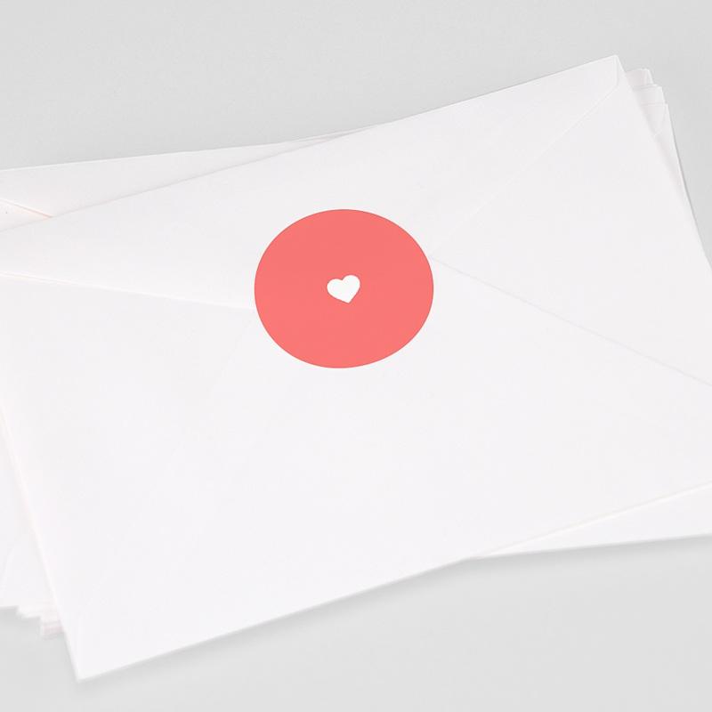 Etiquette Autocollante Naissance Mini-brief, Coeur fond rose