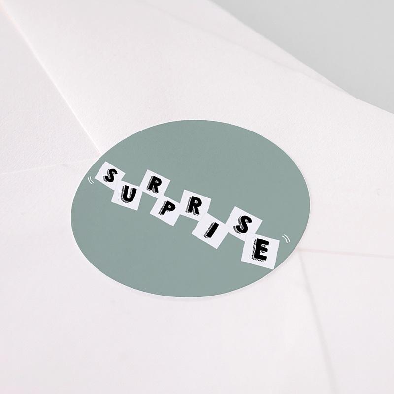 Etiquette Autocollante Naissance Lettres de Bébé, Surprise pas cher