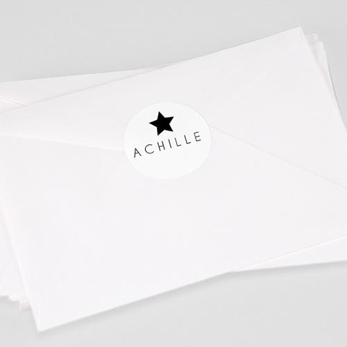Etiquette Autocollante Naissance Etoile noire, 4,5 cm