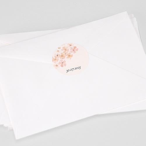 Etiquette Autocollante Naissance Fleurs Aquarelle Pêche, 4,5 cm