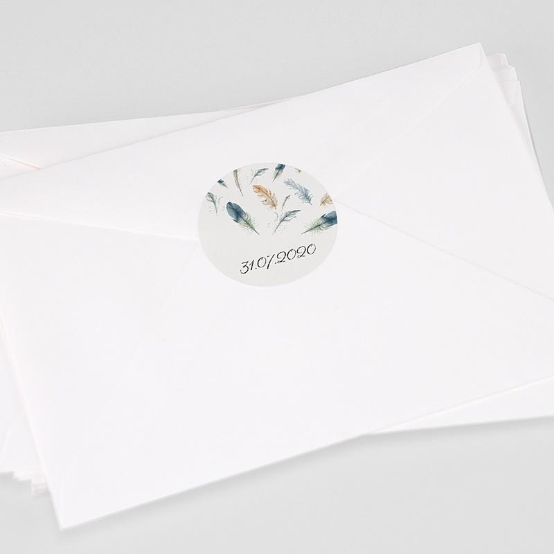 Etiquette Autocollante Naissance Plumes Aquarelle, 4,5 cm