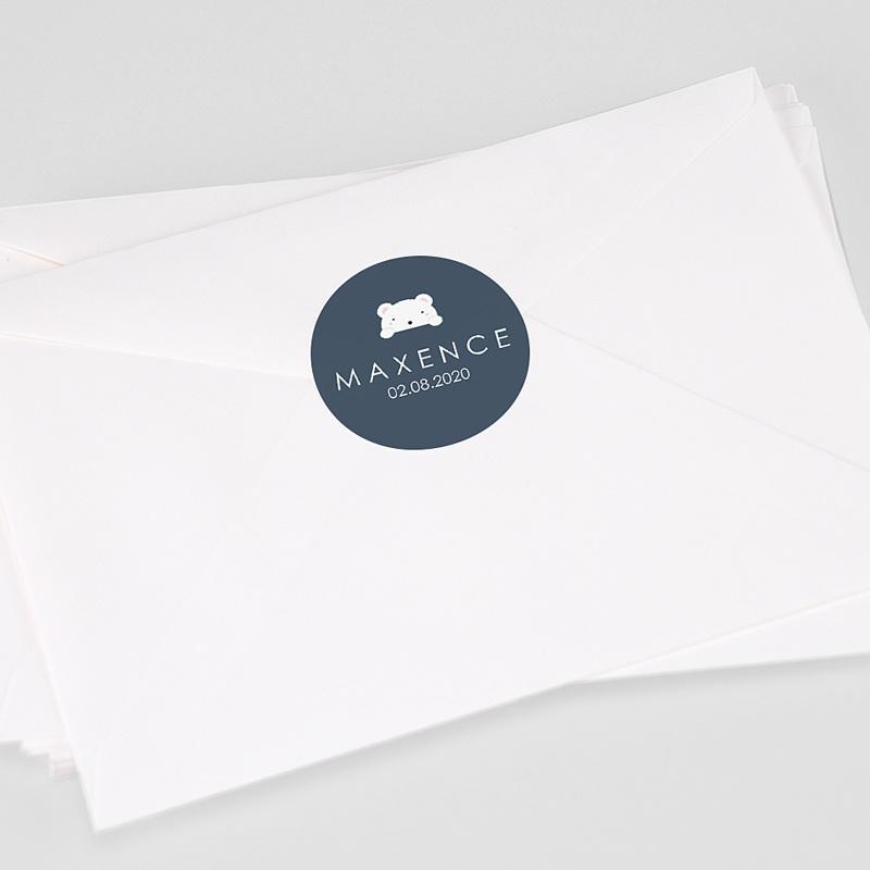 Etiquette Autocollante Naissance Ourson Tendresse, Bleu foncé