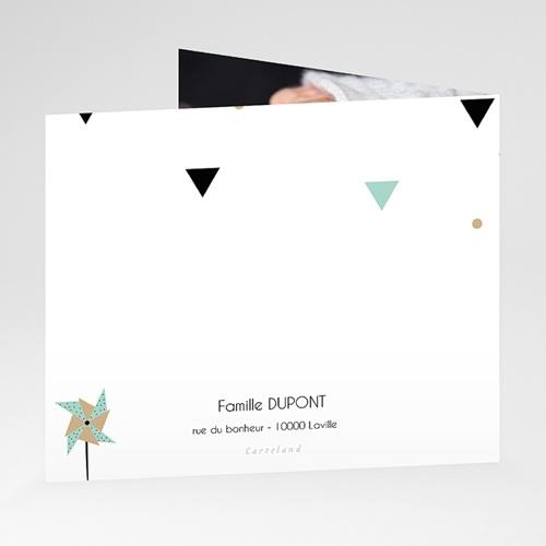 Carte Remerciement Naissance Origami Boy, Pli décalé gratuit