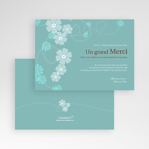 Carte remerciement baptême garçon Bleu - Motif Fleur pas cher