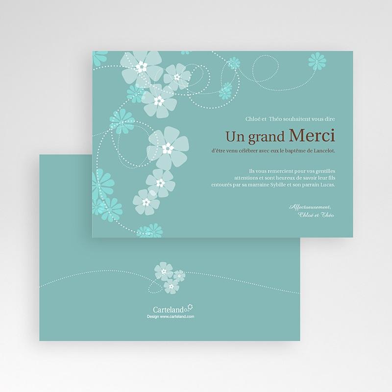 Remerciements Baptême Garçon - Bleu - Motif Fleur 8753 thumb