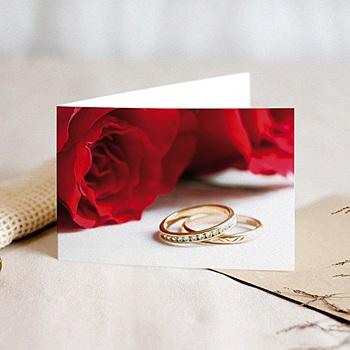 Achat faire part mariage classique roses rouges et deux alliances