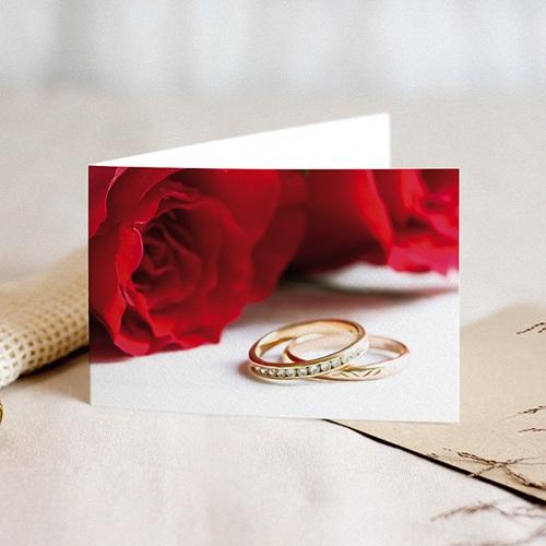 Faire-Part Mariage Personnalisés - Roses rouges et deux alliances 8756